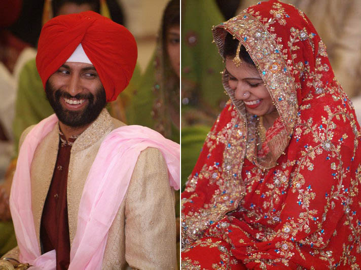 We're all smiles at the Sikh ceremony.