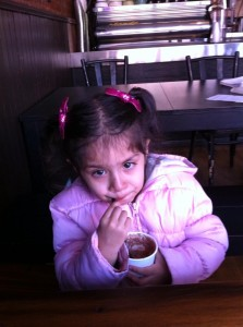 Kavya Having Hot Cocoa